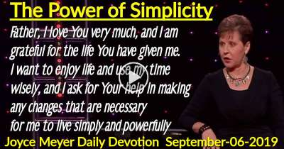 The Power of Simplicity - Joyce Meyer Daily Devotion (September-06-2019)