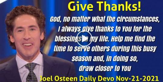 Give Thanks! - Joel Osteen Daily Devotion (November-21-2018)