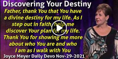 Discovering Your Destiny - Joyce Meyer Daily Devotion (November-29-2020)