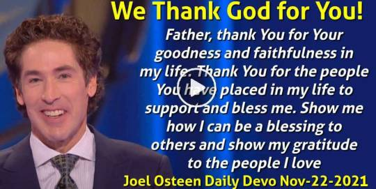 We Thank God for You! - Joel Osteen Daily Devotion (November-22-2018)