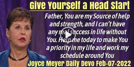 Give Yourself a Head Start - Joyce Meyer Daily Devotion (February-07-2019)