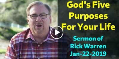 God's Five Purposes For Your Life with Rick Warren (January-22-2019)