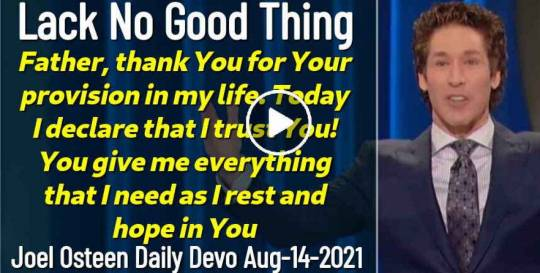Lack No Good Thing - Joel Osteen Daily Devotion (August-14-2019)