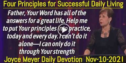 Four Principles for Successful Daily Living - Joyce Meyer Daily Devotion (November-10-2019)